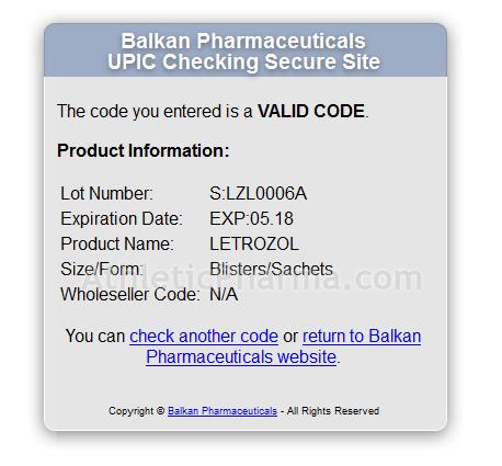 Проверка Летрозол (Балкан Фарма) с помощью кода