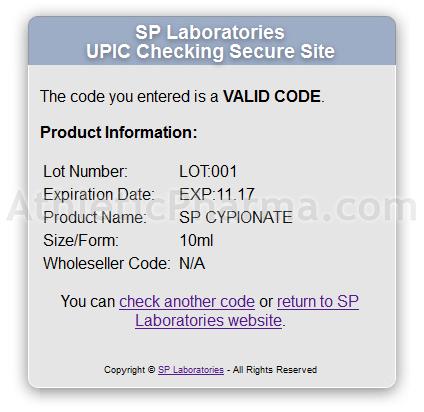 Оригинальный SP Cypionate – подтверждение по коду