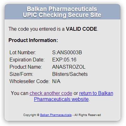 Проверка Anastrozol 1mg (Balkan Pharmaceuticals) с помощью кода