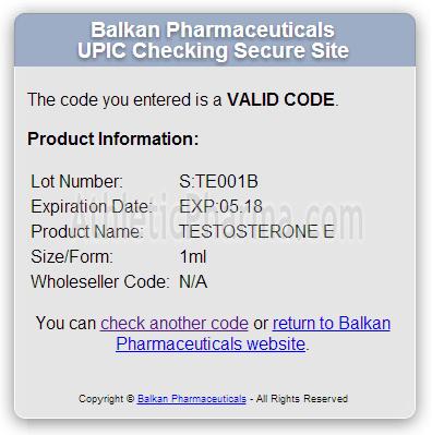 Проверка Enandrol (Balkan Pharmaceuticals) с помощью кода